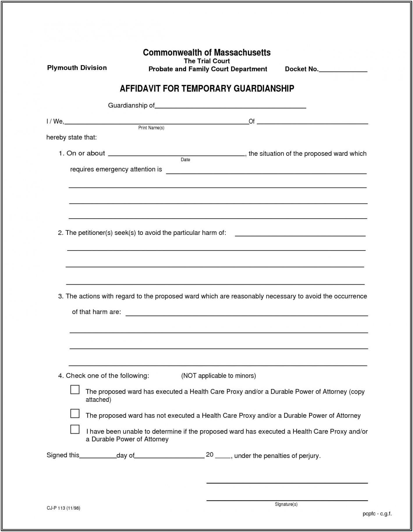 Free Printable Legal Guardianship Forms