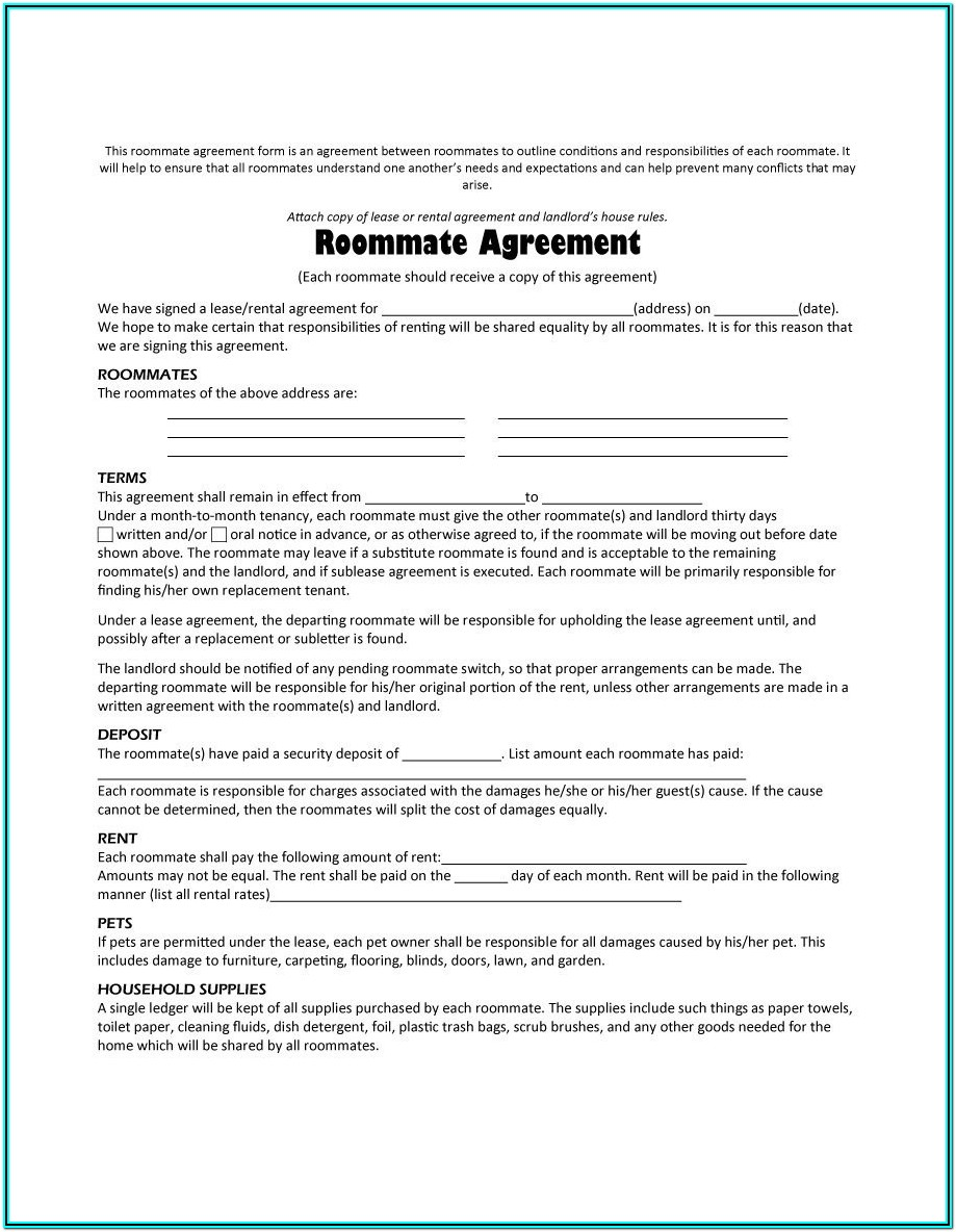 Free Roommate Agreement Form