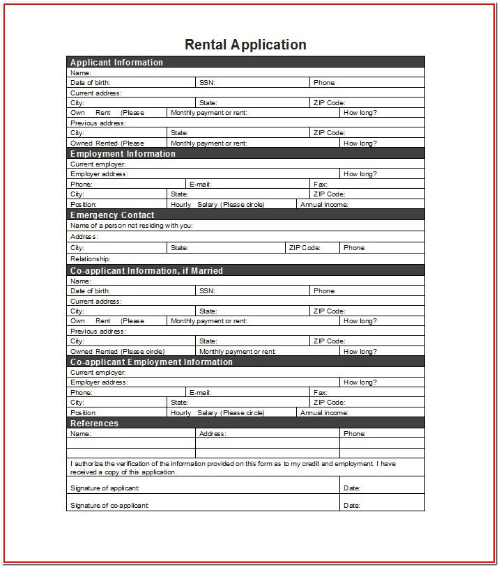 Generic Rental Application Form