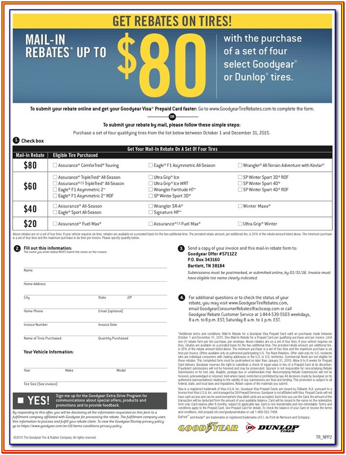 Goodyear Rebate Forms