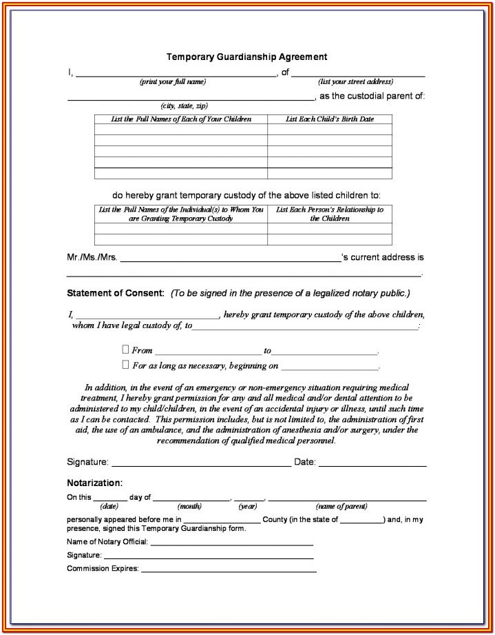 Guardianship Authorization Form