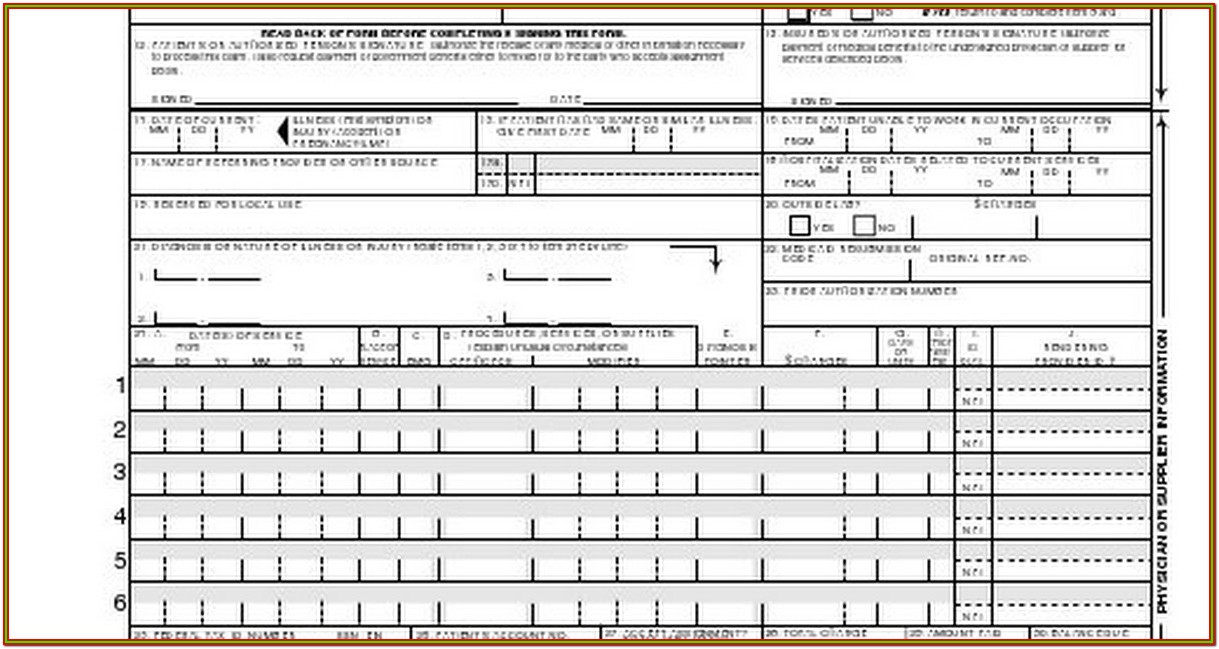 Hcfa 1500 Fillable Form