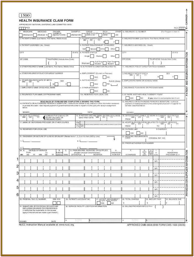 Hcfa 1500 Sample Form Pdf