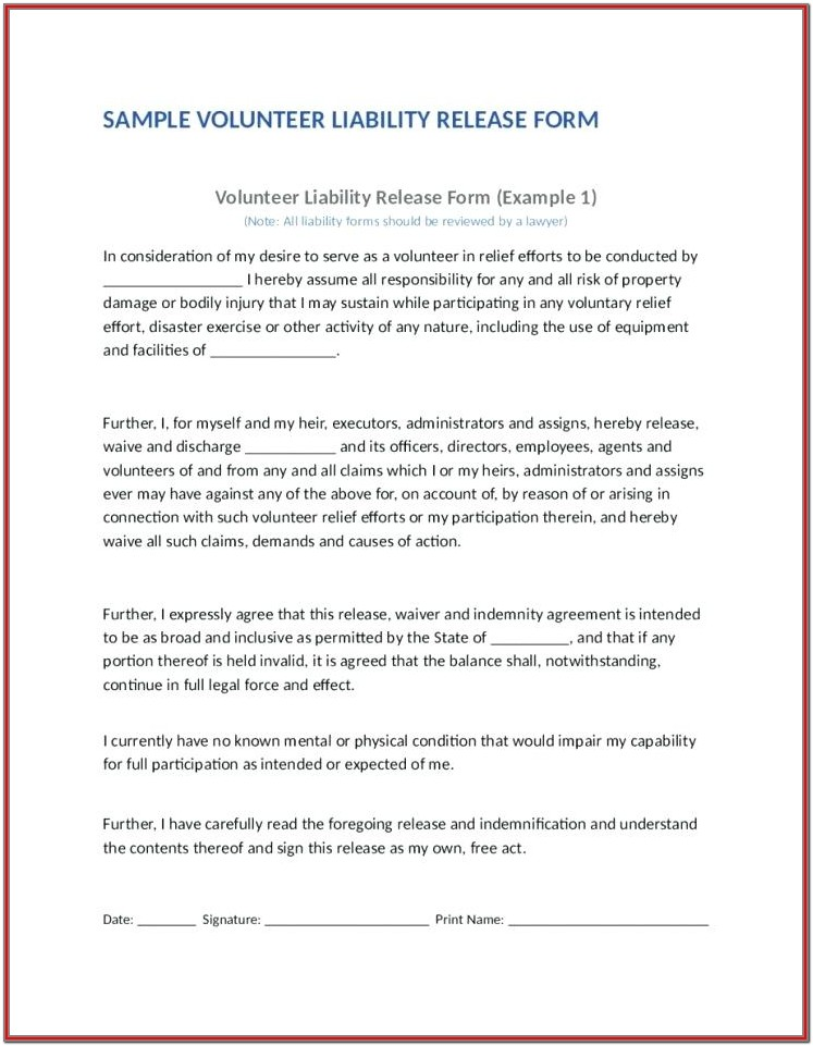 Hold Harmless Indemnity Agreement Form