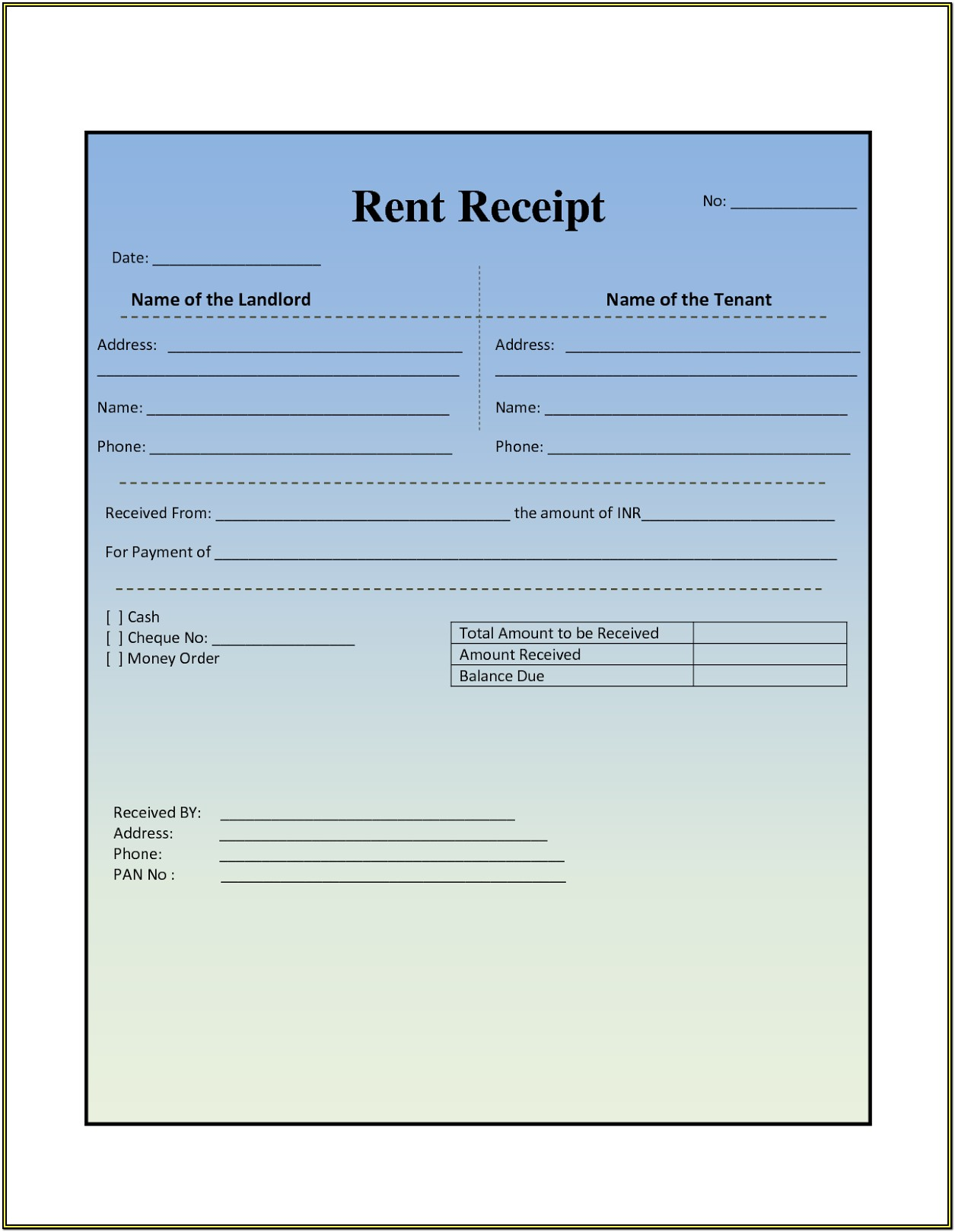 House Rent Invoice Format