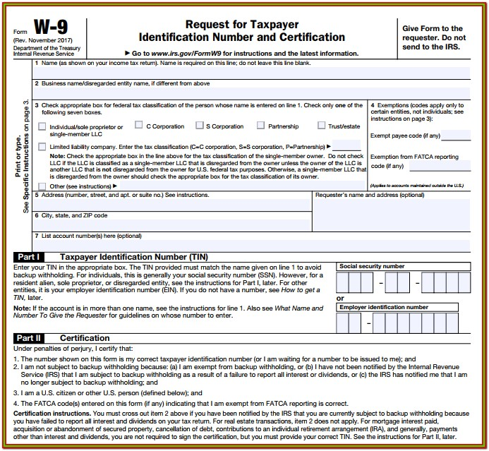 How To File W9 Tax Form