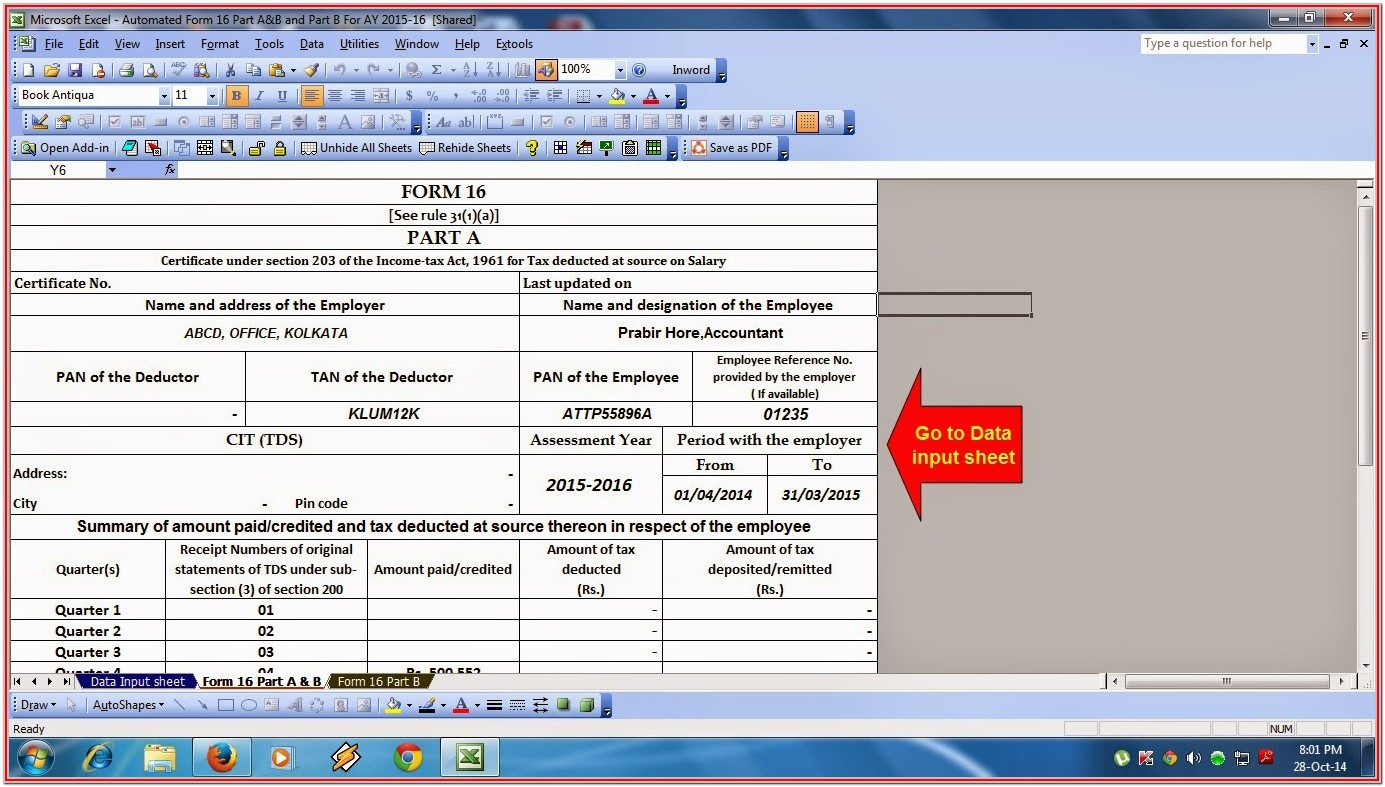 Income Tax Filing Format
