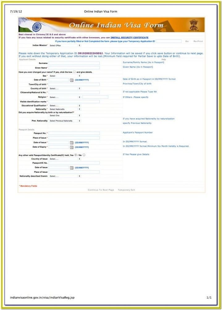 Indian Visa Form For Us Citizens