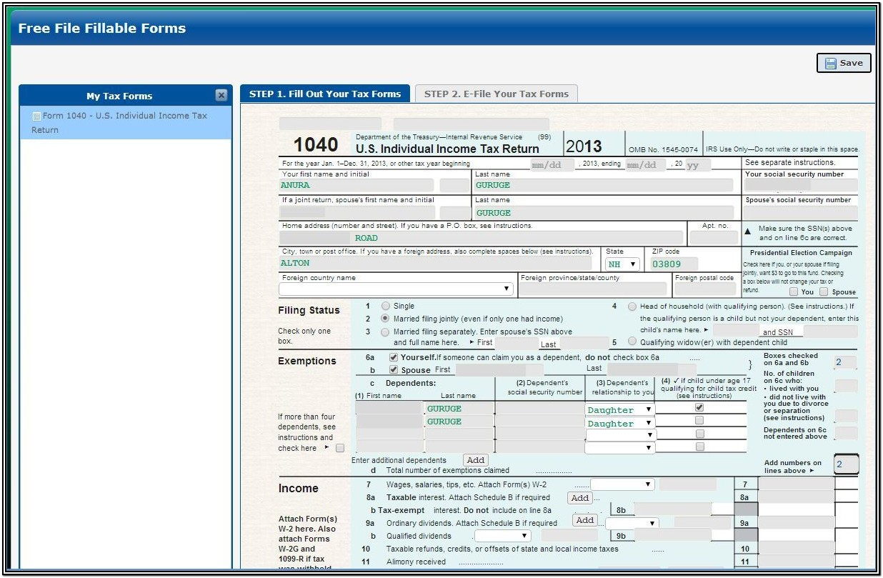 Irs Fillable Forms 2013