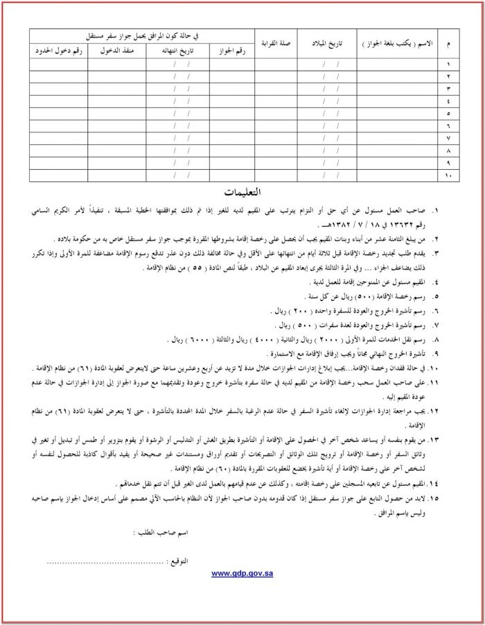 Ksa Visa Application Form