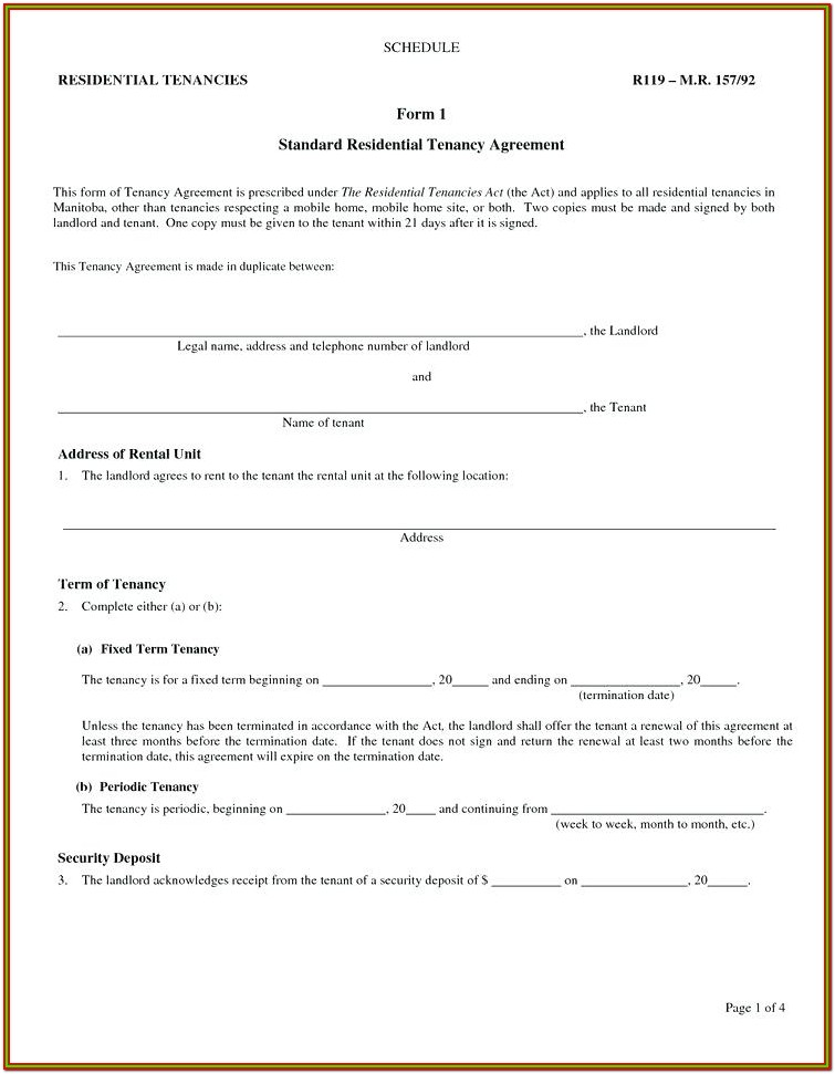 Landlord And Tenant Lease Agreement Form