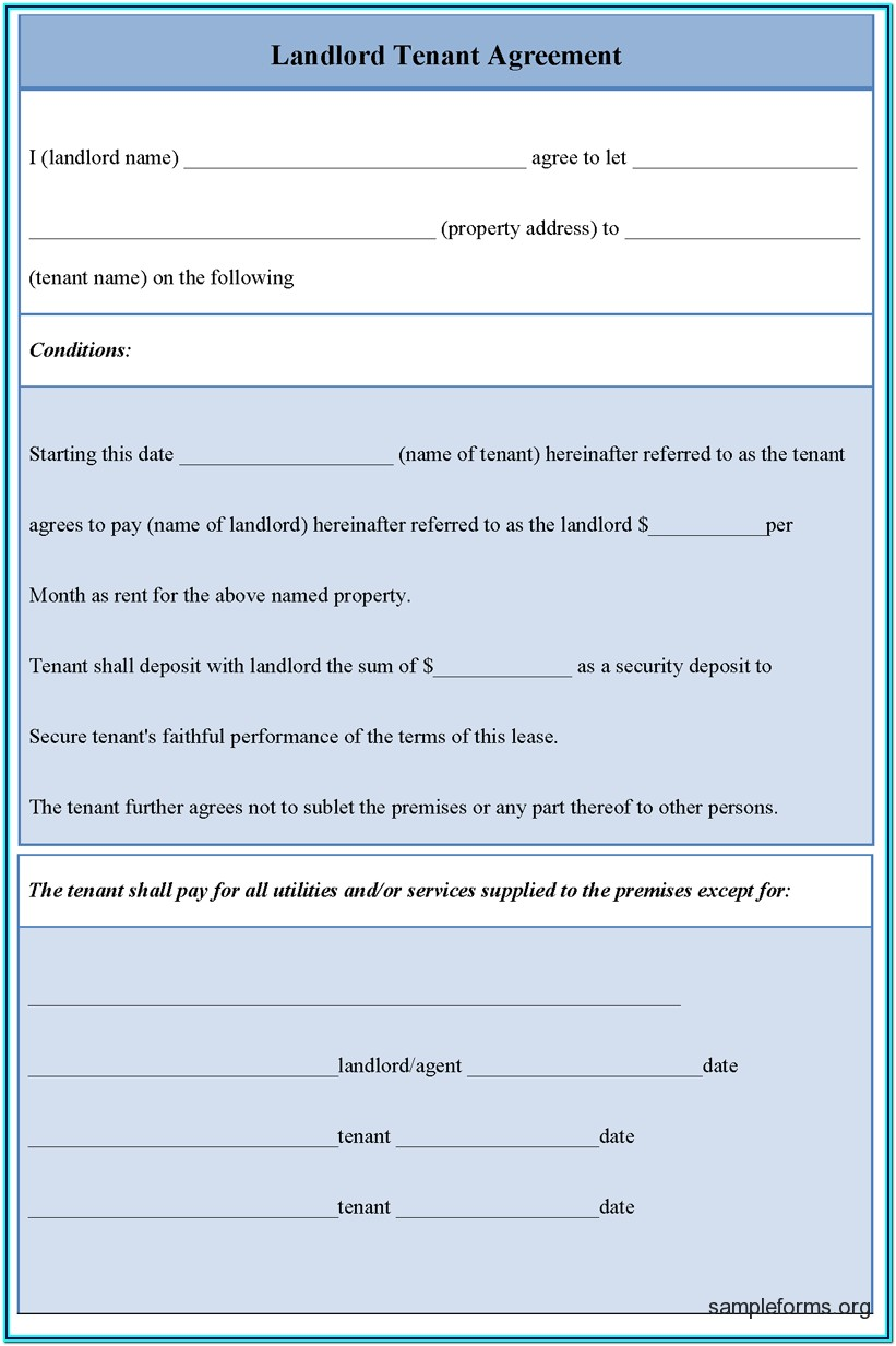 Landlord Tenant Agreement Forms