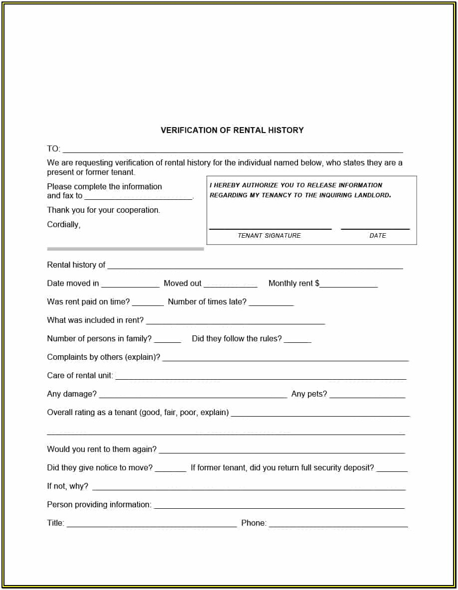 Landlord Tenant Rental Forms