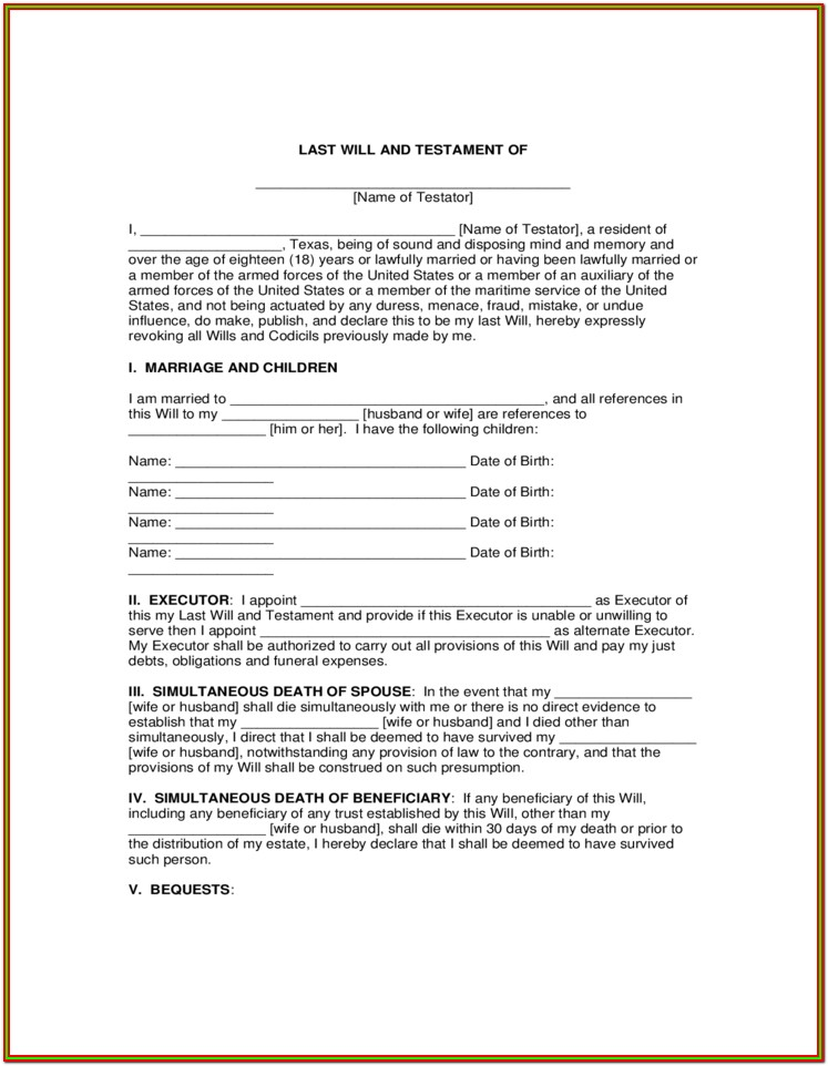 Last Will And Testament Free Form Download