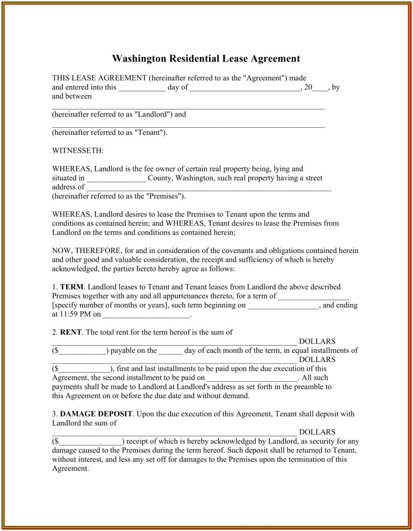 Lease Agreement Form Washington State