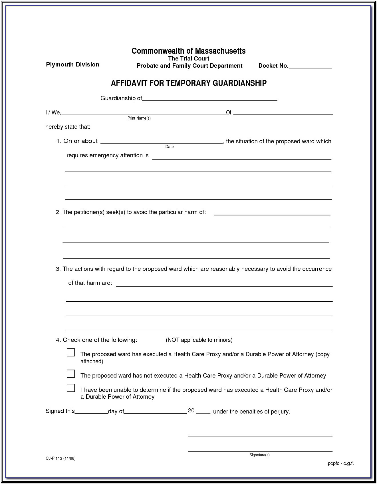 Legal Guardianship Forms Pdf