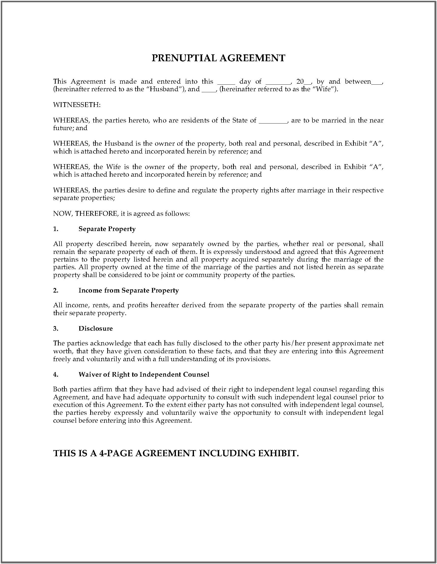 Legal Prenuptial Agreement Form