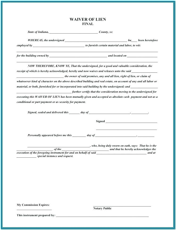 Lien Waiver Form Free