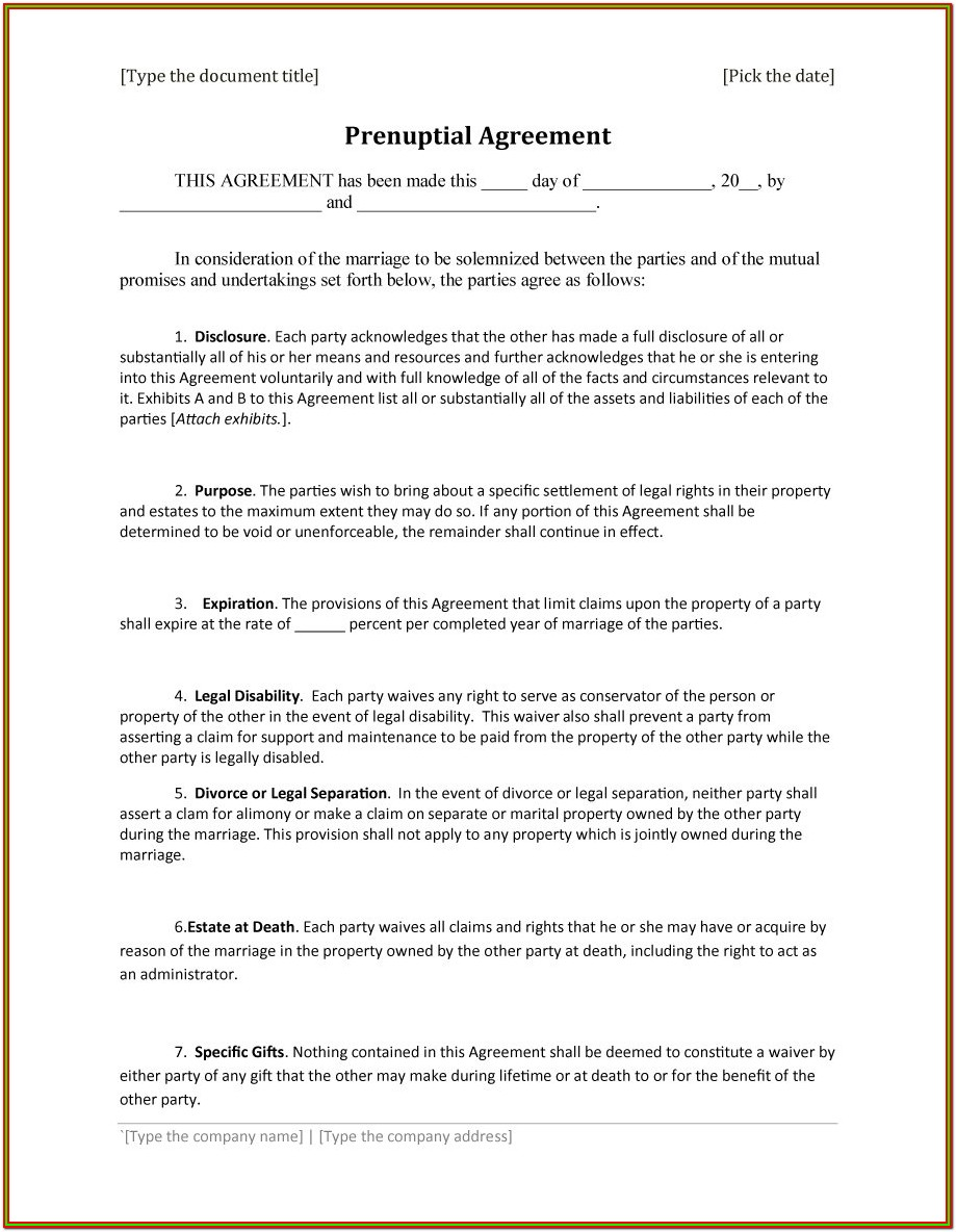 Marriage Prenuptial Agreement Forms