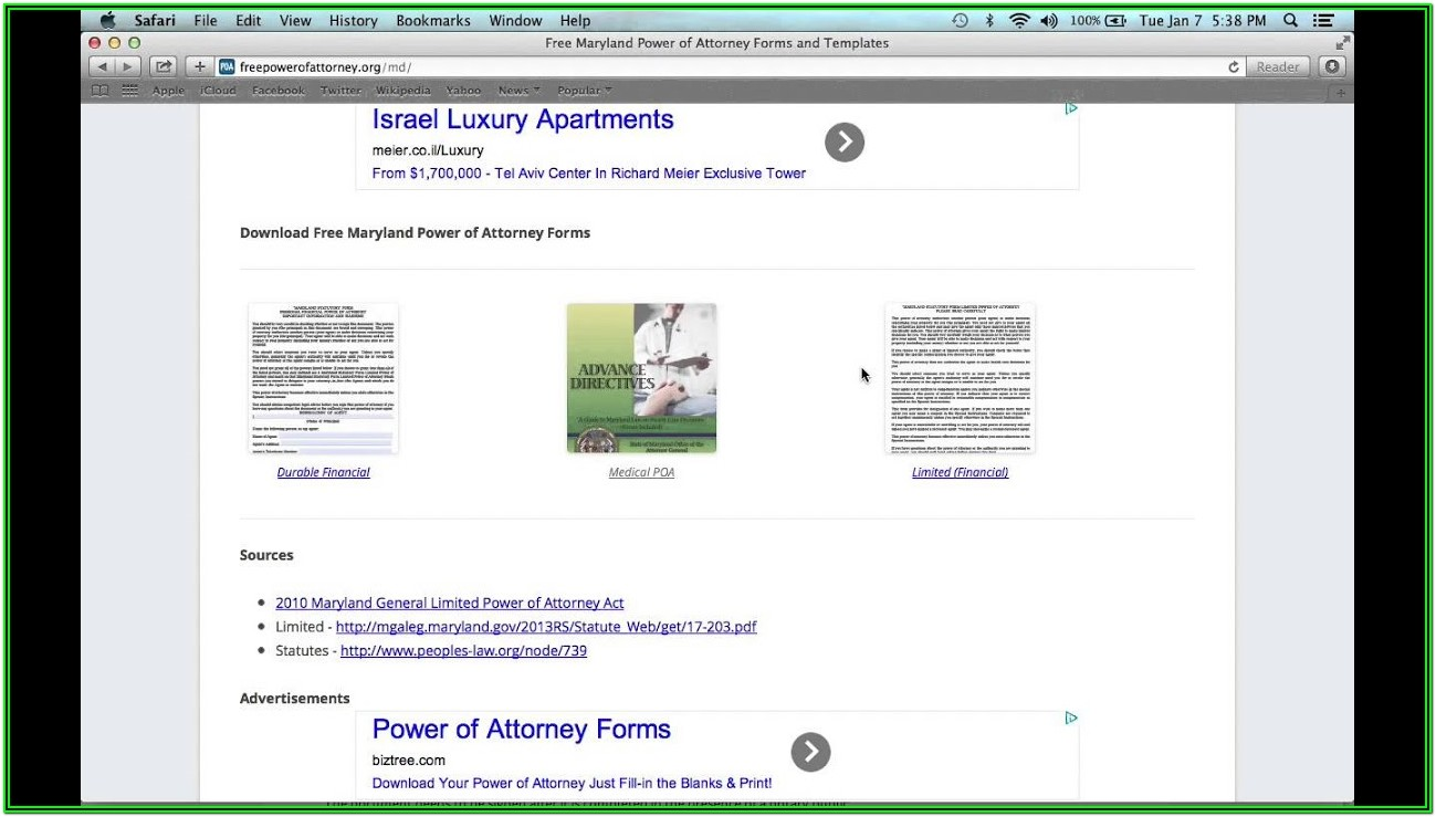 Maryland Power Of Attorney Forms