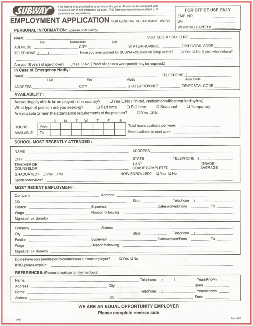 Mcdonalds Applications Form