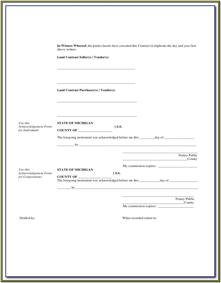 Michigan Land Contract Forms