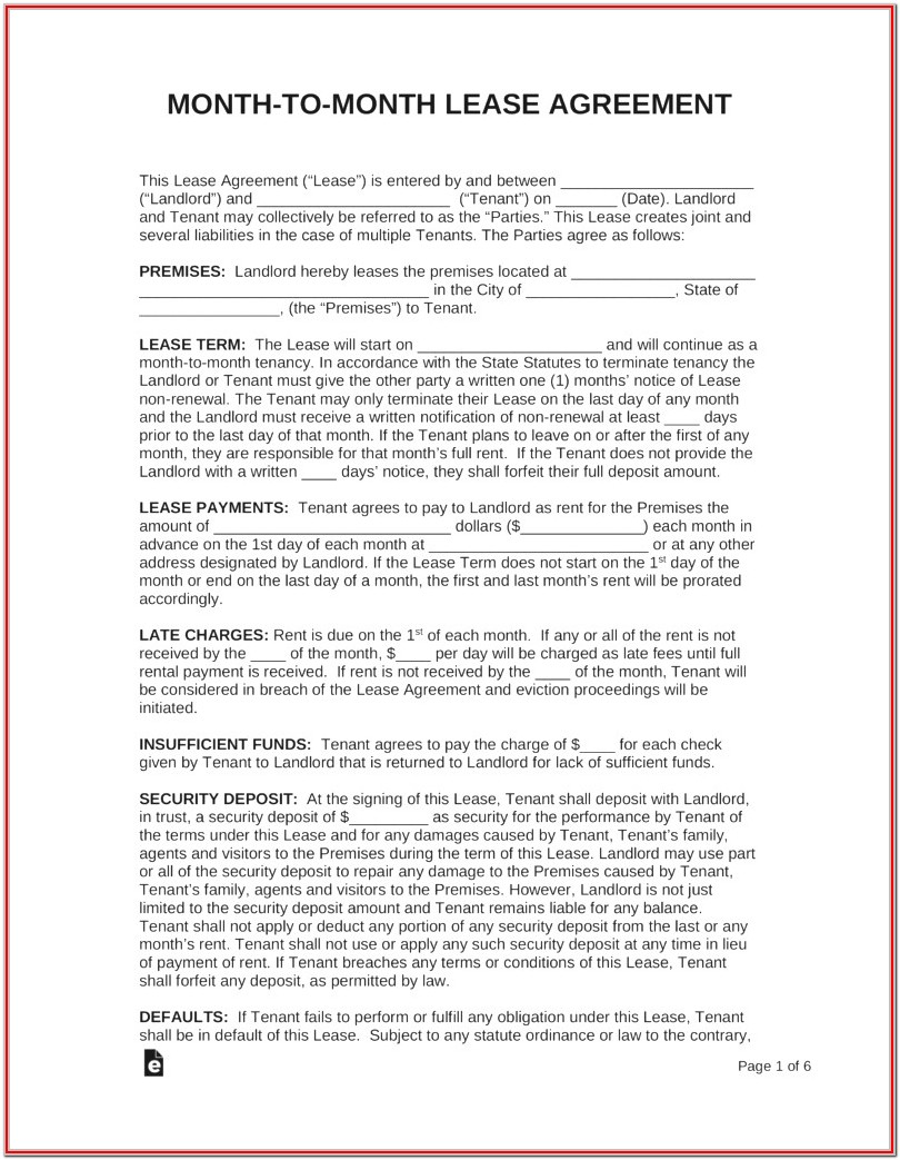 Month To Month Lease Forms