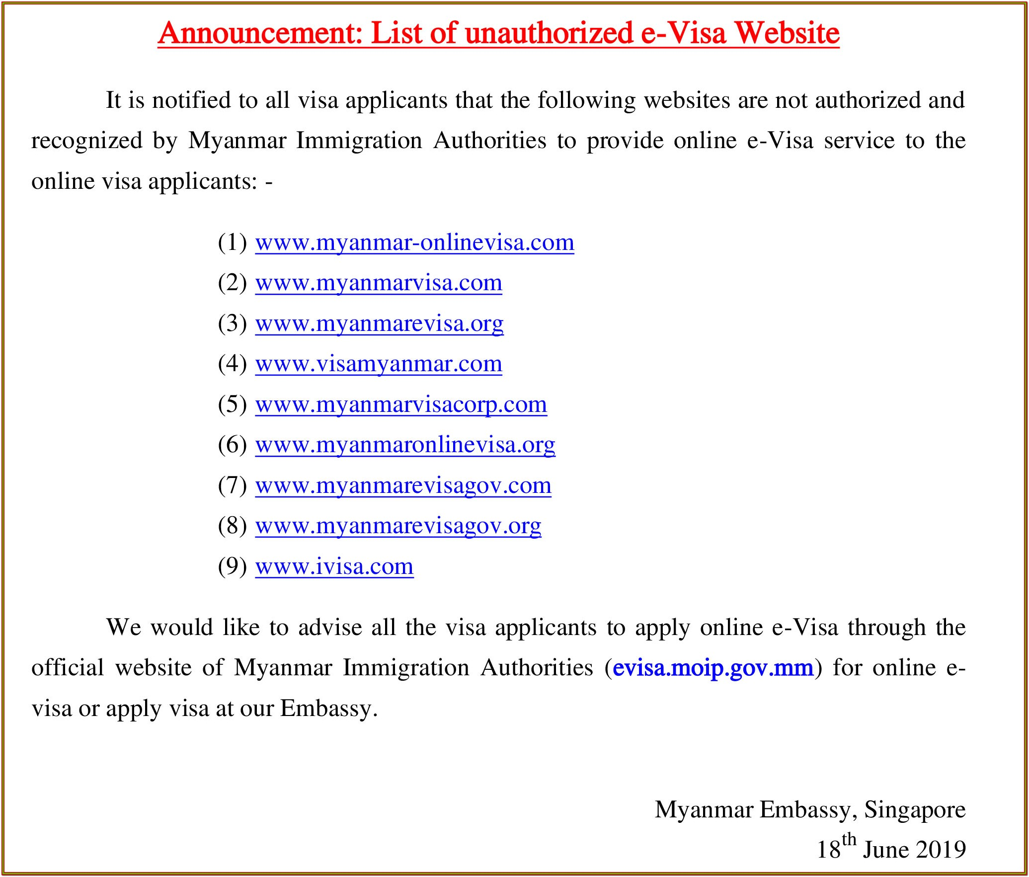 Myanmar Social Visa Application Form Washington Dc