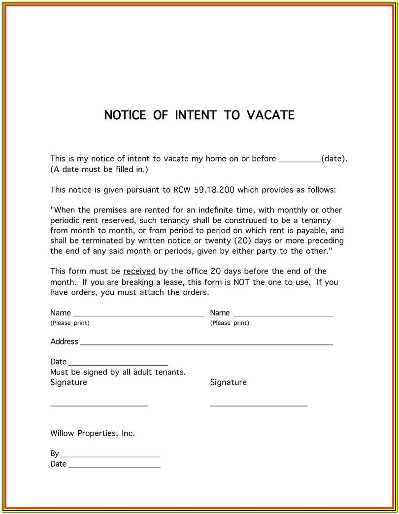 Notice To Evict Form
