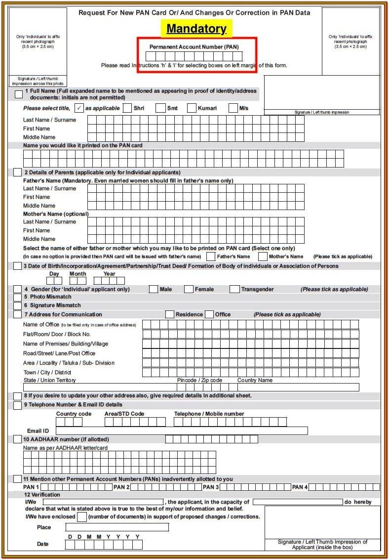 Pan Application Form For Nri Pdf