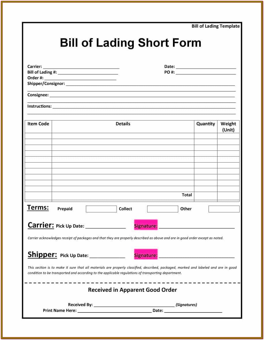 Pdf Bill Of Lading Form