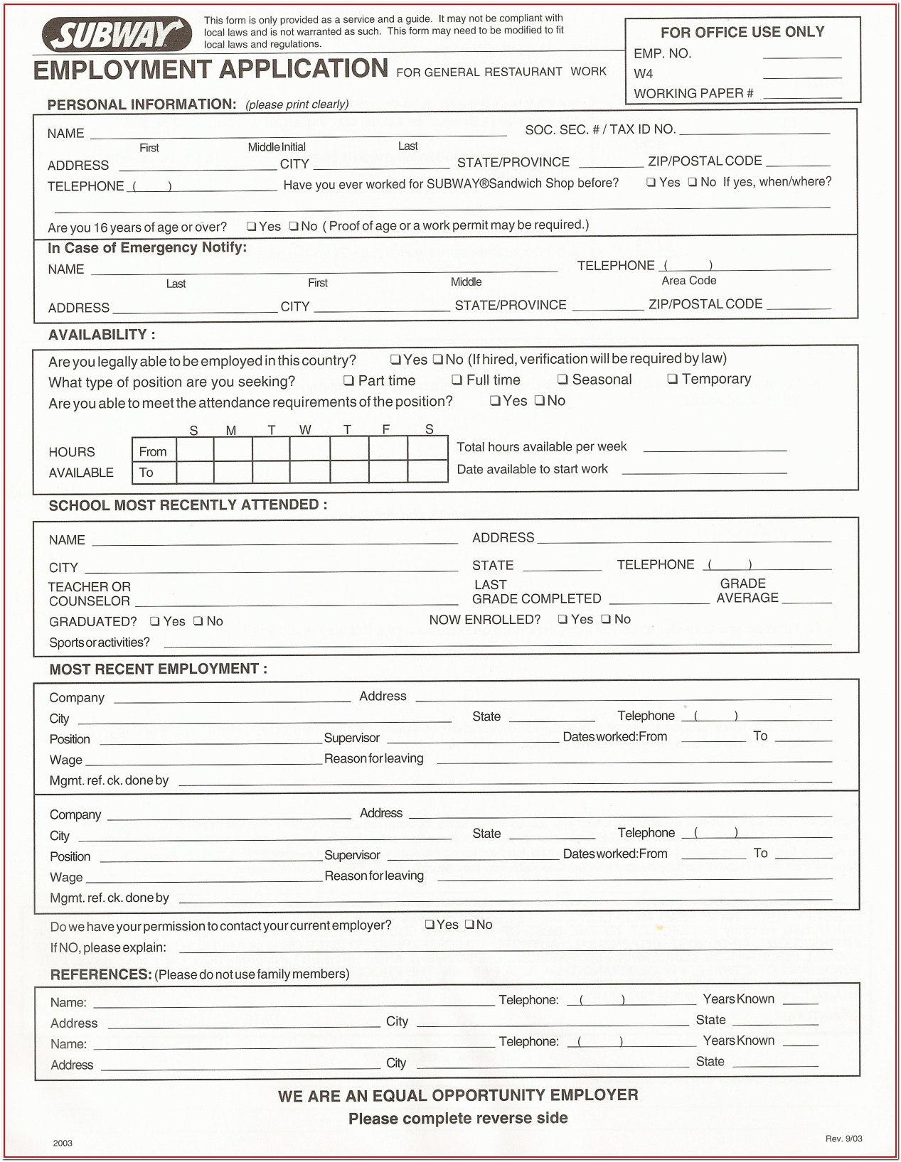 Pdf Free Printable Job Application