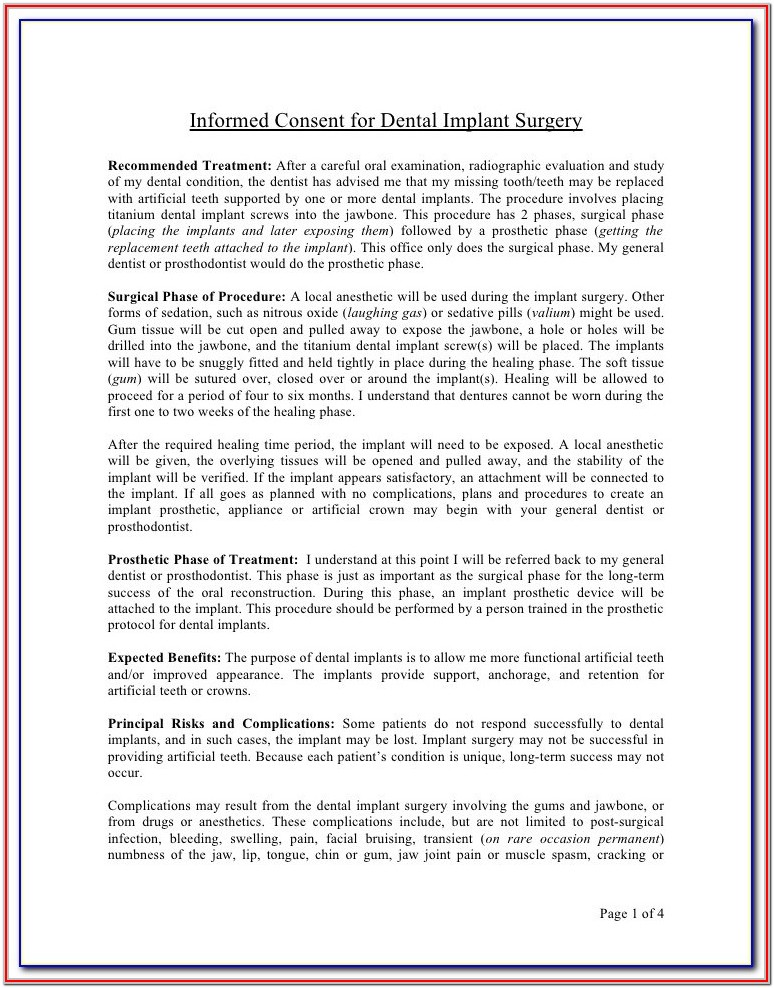 Pediatric Dental Treatment Consent Forms