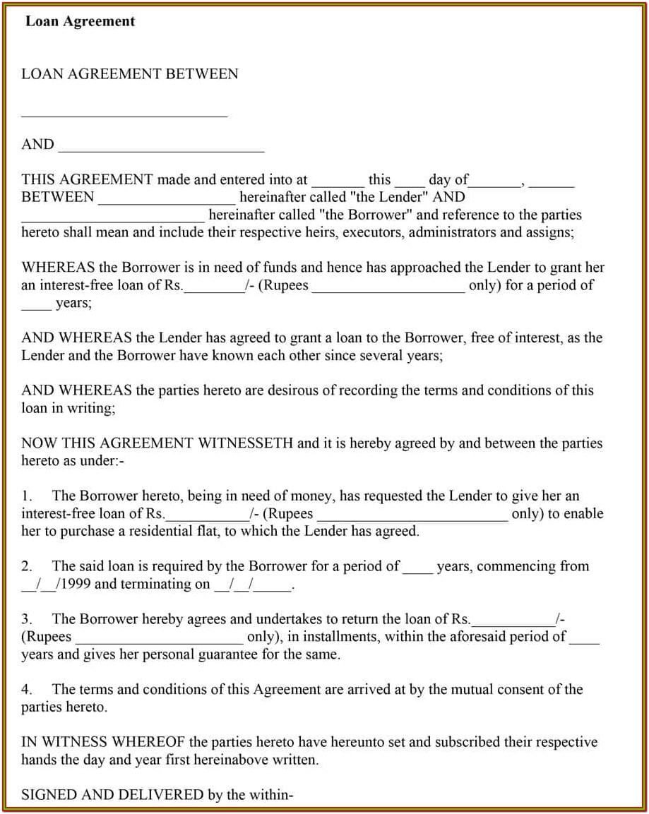 Personal Printable Loan Agreement Form