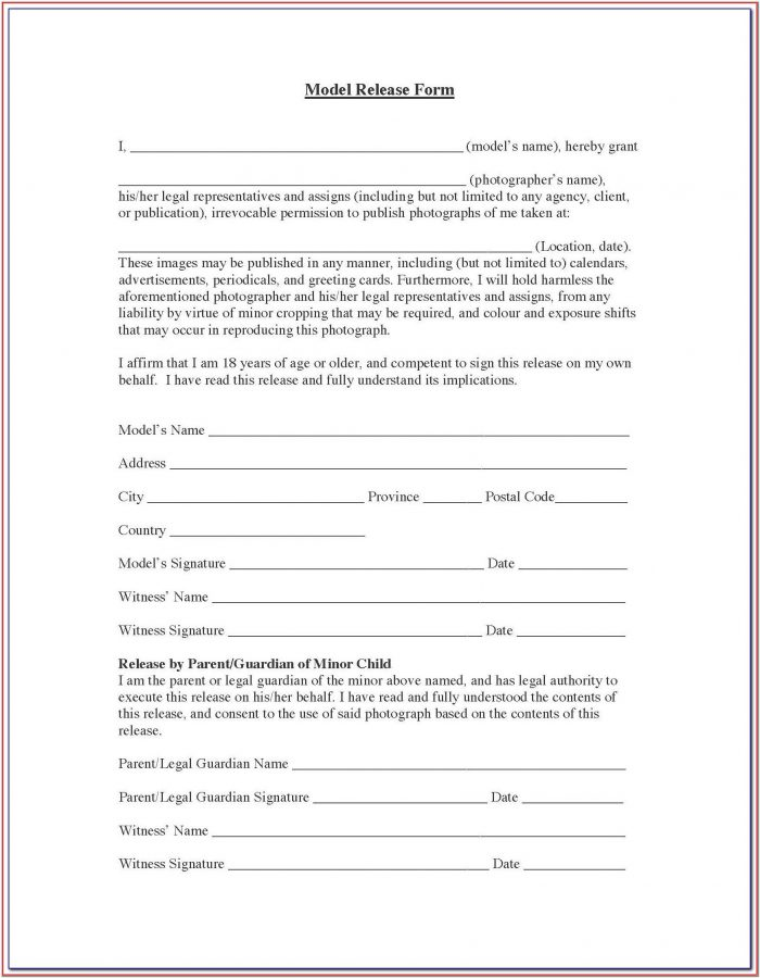 Photographic Model Release Form