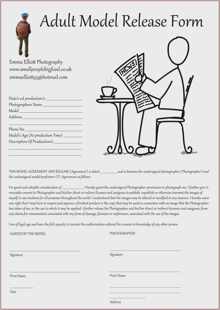 Photographic Model Release Form Uk