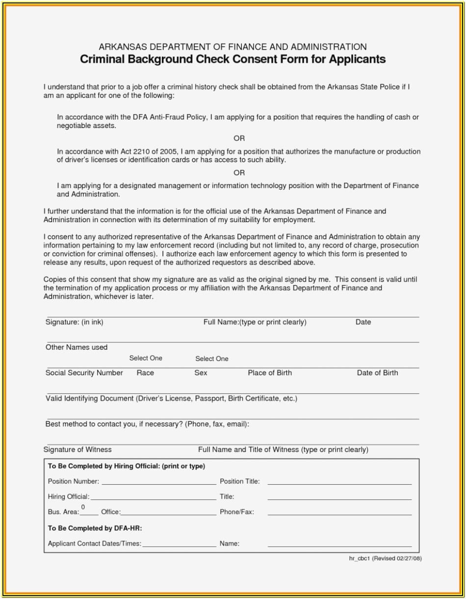 Pre Employment Background Check Authorization Form