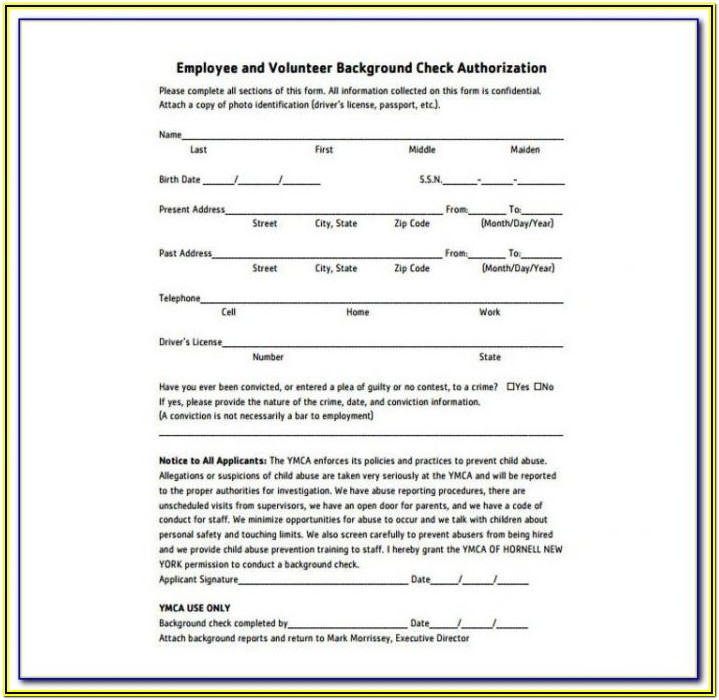 Pre Employment Background Check Form