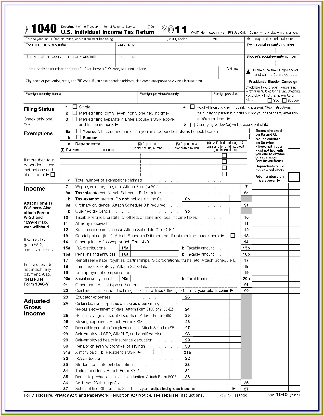 Printable 1040 Tax Form 2013