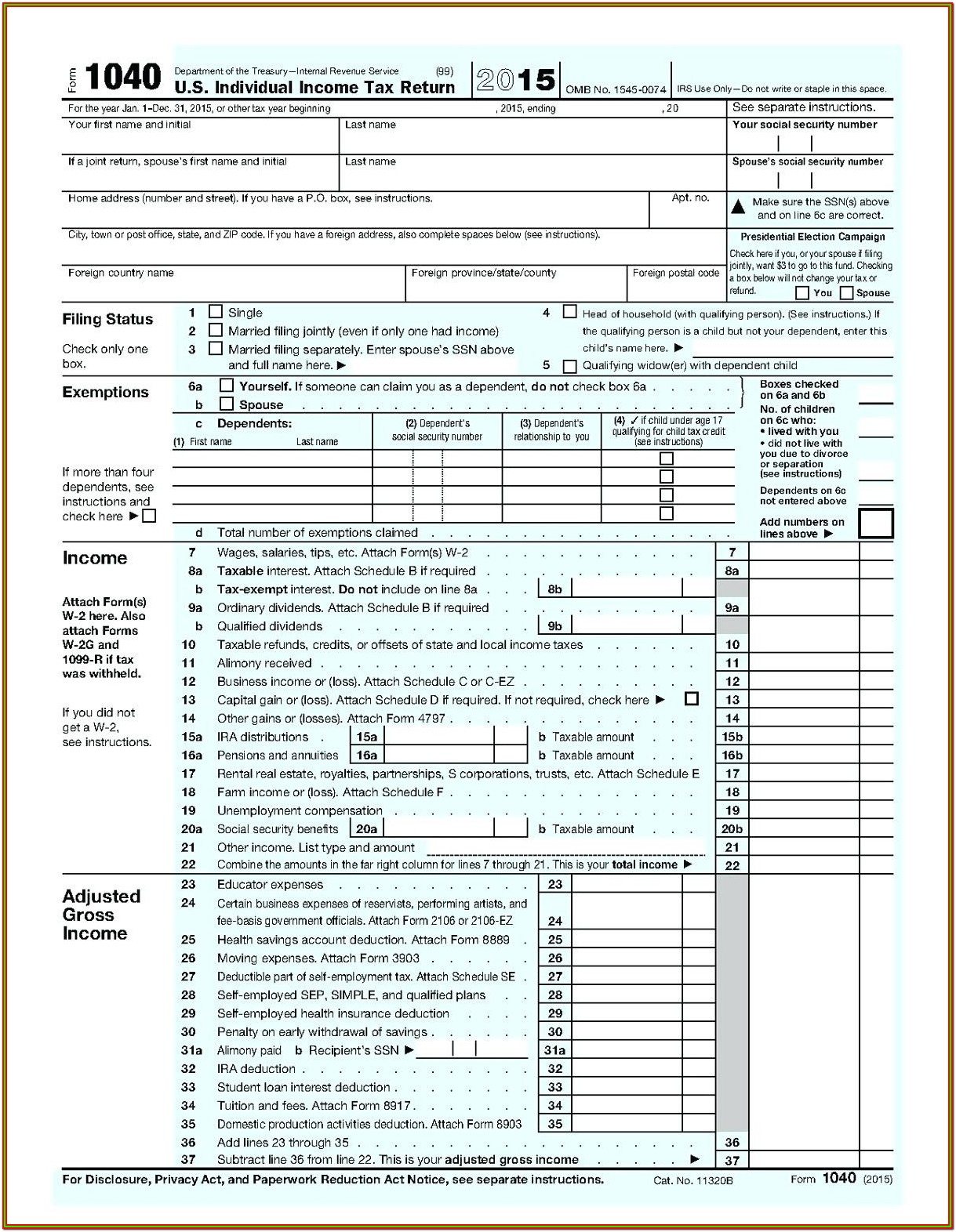 Printable 1040ez Tax Form 2018