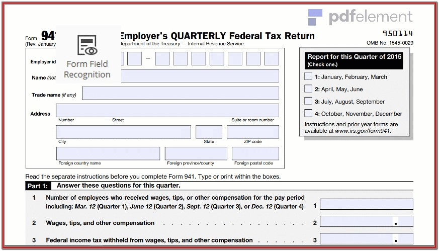 Printable 941 Form For 2018