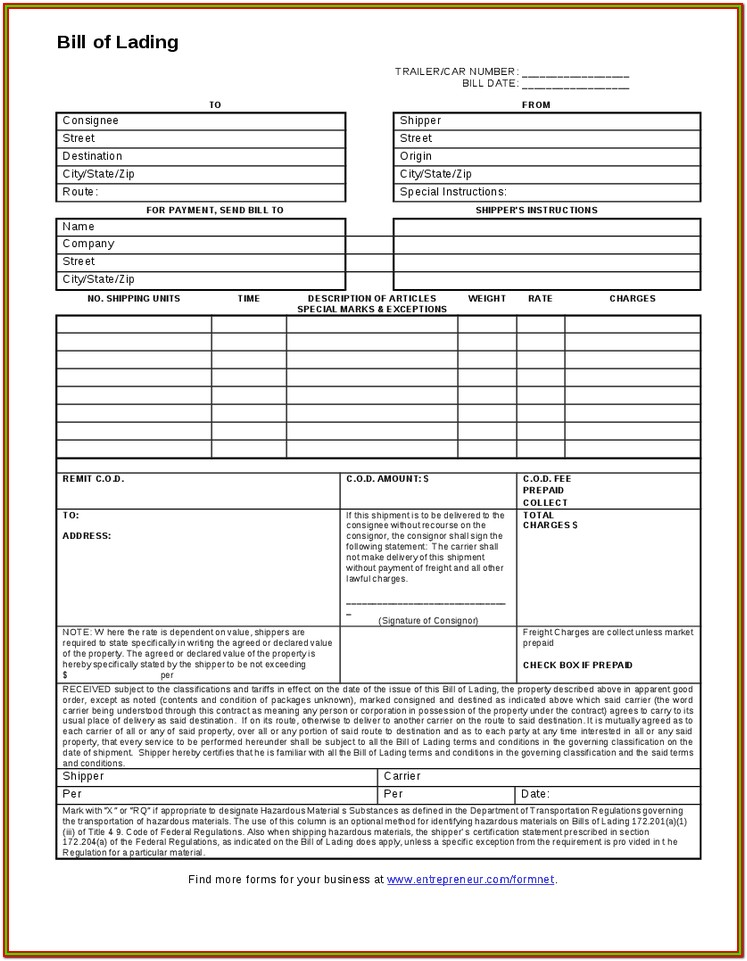 Printable Bill Of Lading Form