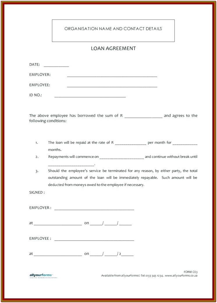 Printable Cash Loan Printable Loan Agreement Form