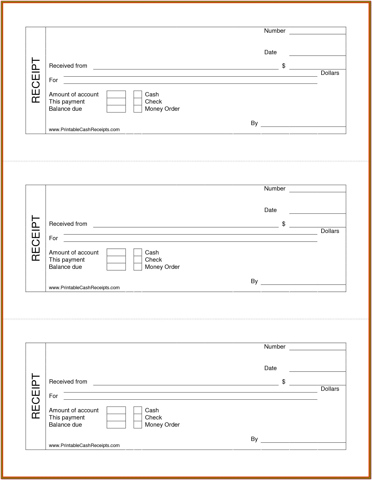 Printable Cash Receipt Forms