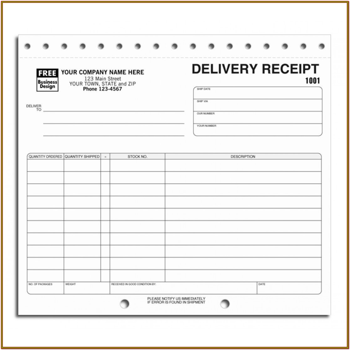 Printable Delivery Receipt Forms