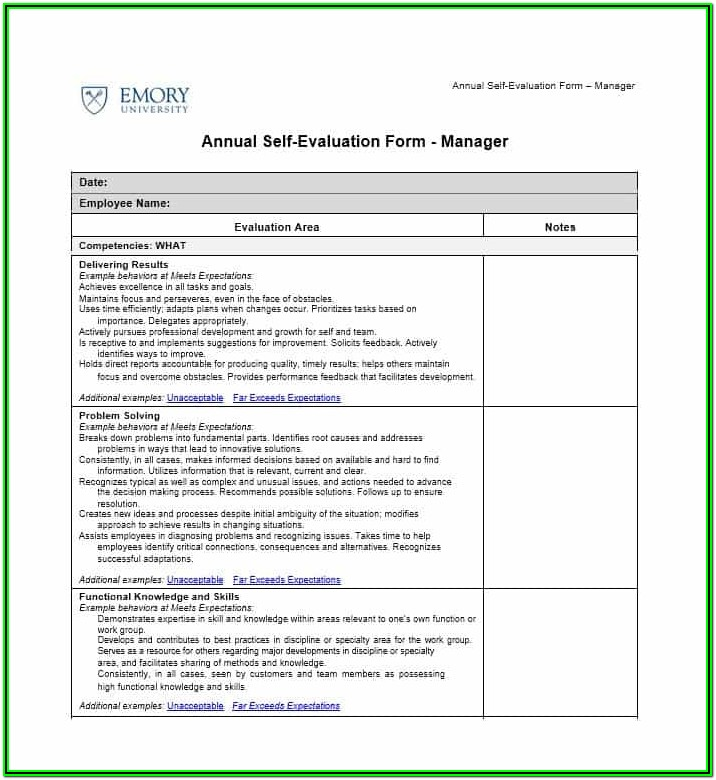 Printable Employee Self Evaluation Forms