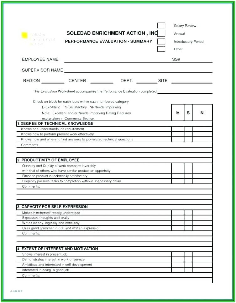 Printable Free Employee Self Evaluation Template Forms