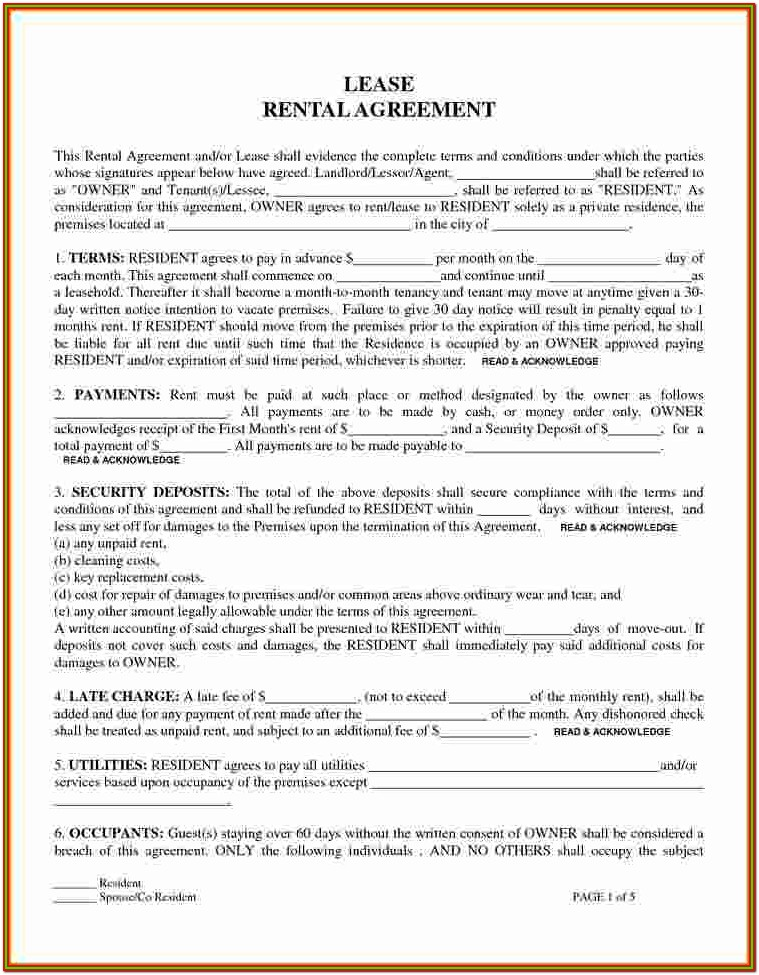 Printable Free Lease Agreement Forms