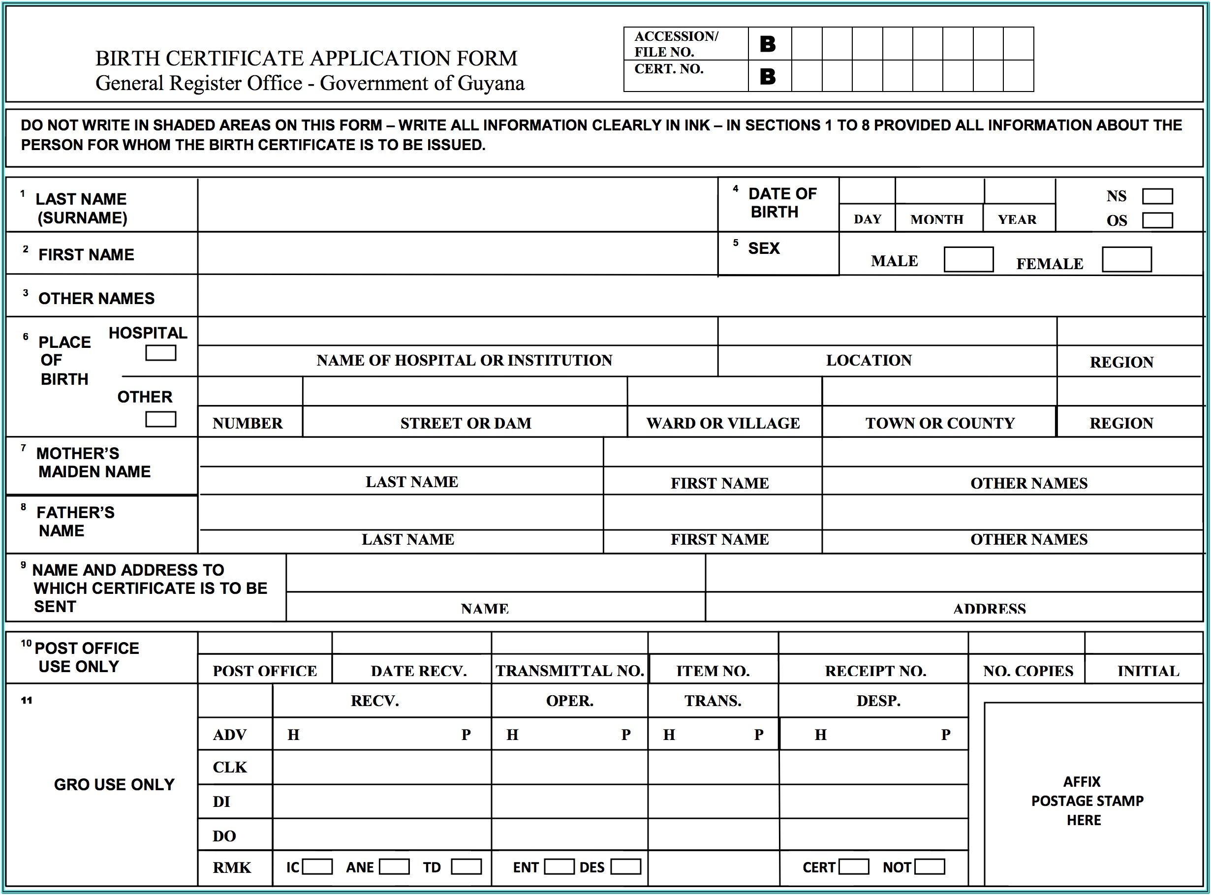 Printable Guyana Passport Renewal Form