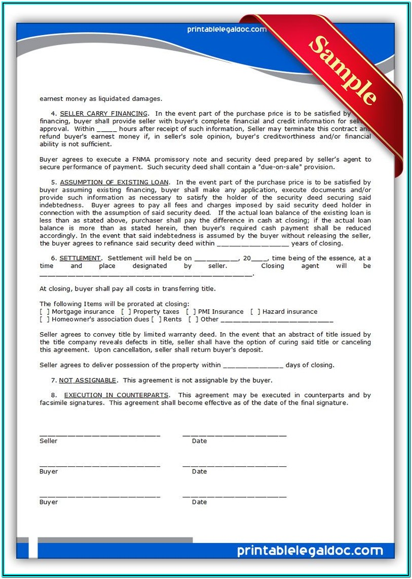 Printable Land Contract Form